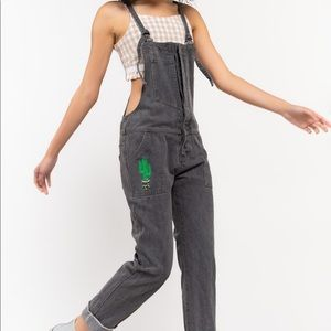 Gray cactus utility overalls with front  pocket